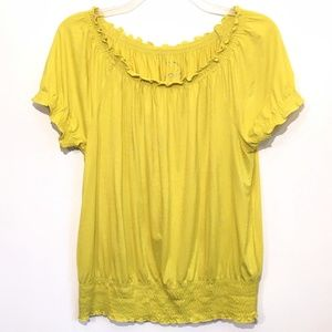 INC Smocked Peasant Top Scoop Neck Citrus Large